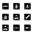 War icons set grunge style vector image