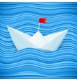 paper boat in blue waves of sea vector image vector image