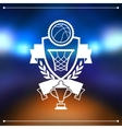 Background with basketball ball hoop and labels vector image