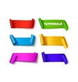 Set of colorful curved paper ribbon banners with vector image vector image