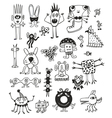Cute black and white monsters vector