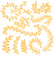 Autumn leaf set Set wreaths and laurel Hand vector image