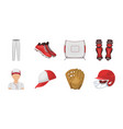 baseball and attributes icons in set collection vector image