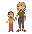mother with daughter avatars characters vector image