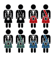Scotsman man wearing kilt icons set vector image