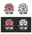 tattoo studio rose emblem vintage vector image