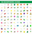 100 biosphere icons set cartoon style vector image vector image