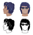 man hairstyles set for curly hair vector image vector image