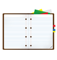Notebook with bookmark and notepads vector image