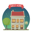 night house with street lamp and tree in vector image