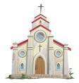 Old stone Catholic Church in cartoon style vector image