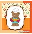 teddy bear with pie birthday greeting card vector image