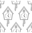 Cuckoo clock Black and white seamless pattern vector image vector image