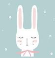 cute little white rabbit bunny hand drawn vector image