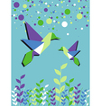 Origami hummingbird couple spring time vector image