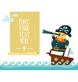Pirate with spyglass on ship vector image