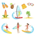Surfing Vacation Icon Set vector image