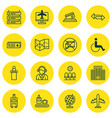 set of 16 airport icons includes credit card vector image