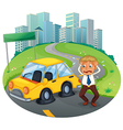 A car accident in the curve road near the empty vector image vector image
