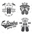 set of scuba diving club and diving school design vector image