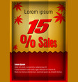 15 percent discount poster or flyer design in vector image