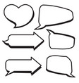 set of cartoon text boxes with arrow shape heart vector image