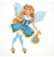 Little tooth fairy with bag of tooth with wings vector image vector image