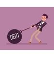 Businessman dragging a weight Debt on chain vector image