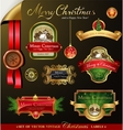 Christmas labels with lovely winter landscape vector image