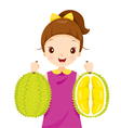 Girl Holding Durian vector image