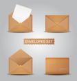 set kraft envelopes open and closed envelope vector image