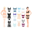 Set of lingerie elements with beautiful fashion vector image