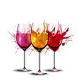 Three wine glasses with splashes vector image