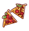 triangular pizza slices with tasty salami soft vector image