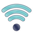 Wifi signal icon in colored crayon silhouette vector image