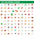 100 calories icons set cartoon style vector image