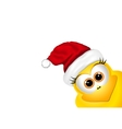 Christmas background with chicken in Santa hat vector image