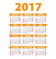 2017 calendar or desk planner 12 month set week vector image