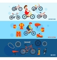 Bicycle accessories flat banners set vector image