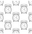 Alarm clock flat linear icon Seamless pattern vector image
