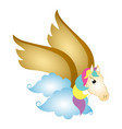 cute pegasus on clouds fantasy creature vector image