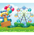 A clown with balloons and the empty signage vector image vector image