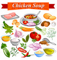 ingredient for indian chicken soup recipe with vector image