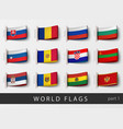 set of flag labels of all countries vector image