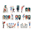 people in airplane set vector image
