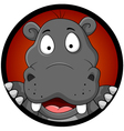 funny hippopotamus head cartoon vector image