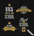 back to school gold glitter typography quote set vector image