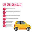 cars care checklist yellow car and line icons vector image