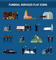 funeral services flat icon set vector image
