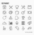 restaurant thin line icons set vector image